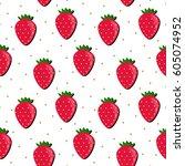 strawberry pattern. vector... | Shutterstock .eps vector #605074952