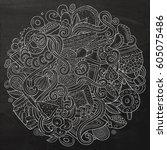 cartoon cute doodles hand drawn ... | Shutterstock .eps vector #605075486