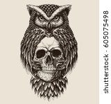 Stock vector elaborate drawing of owl holding skull 605075498