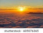 sunrise view over the fog. | Shutterstock . vector #605076365