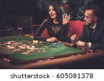 upper class friends gambling in ... | Shutterstock . vector #605081378