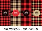 lumberjack seamless patterns... | Shutterstock .eps vector #605090825
