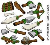 stone age caveman prehistoric... | Shutterstock .eps vector #605091206