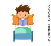 child reading book in bed | Shutterstock .eps vector #605091902