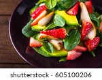 healthy salad plate with... | Shutterstock . vector #605100206