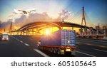 logistics and transportation of ... | Shutterstock . vector #605105645