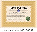 orange retro invitation... | Shutterstock .eps vector #605106332