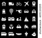transportation icons on black... | Shutterstock .eps vector #605110205