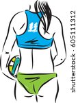 volleyball girl player vector...   Shutterstock .eps vector #605111312