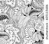 tracery seamless calming... | Shutterstock .eps vector #605115686