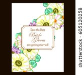 vintage delicate invitation... | Shutterstock .eps vector #605120258