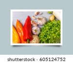 vegetables. garlic  lettuce... | Shutterstock . vector #605124752