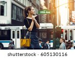 beautiful tourist girl... | Shutterstock . vector #605130116