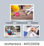 cleaning supplies  business... | Shutterstock . vector #605132036