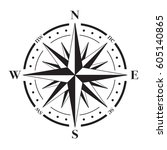 a vector compass rose with... | Shutterstock .eps vector #605140865