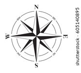 a vector compass rose with... | Shutterstock .eps vector #605140895