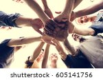 diverse group of people hands... | Shutterstock . vector #605141756