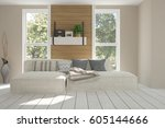 white room with sofa and green... | Shutterstock . vector #605144666