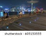 victoria harbor of hong kong | Shutterstock . vector #605153555