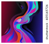 colorful vibrant wave... | Shutterstock .eps vector #605165726