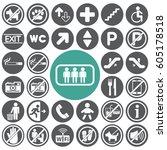 public icons set.vector... | Shutterstock .eps vector #605178518