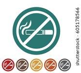 no smoking icon.vector... | Shutterstock .eps vector #605178566