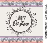 happy easter greeting card with ... | Shutterstock .eps vector #605180666