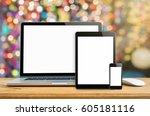laptop smartphone and tablet... | Shutterstock . vector #605181116