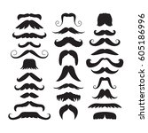 set of hand drawn old fashion... | Shutterstock .eps vector #605186996