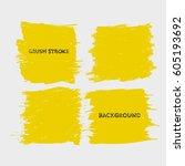 yellow brush stroke frame set... | Shutterstock .eps vector #605193692