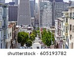 montgomery st. and skyline of... | Shutterstock . vector #605193782