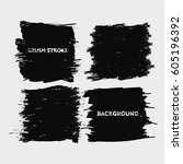 black brush stroke frame set... | Shutterstock .eps vector #605196392