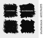 black brush stroke frame set... | Shutterstock .eps vector #605196395