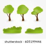 tree icons set.vector design... | Shutterstock .eps vector #605199446