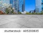 empty brick floor with... | Shutterstock . vector #605203835