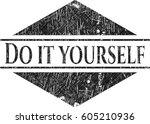 do it yourself chalk emblem...   Shutterstock .eps vector #605210936