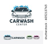car wash logo design.... | Shutterstock .eps vector #605213765