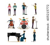 vector icons set of symphony... | Shutterstock .eps vector #605215772