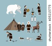 vector set of wild north arctic ... | Shutterstock .eps vector #605215775