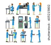 vector set of biologists ... | Shutterstock .eps vector #605215802