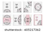 save the date.set of postcards... | Shutterstock .eps vector #605217362