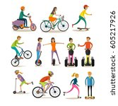 vector set of characters  sport ... | Shutterstock .eps vector #605217926