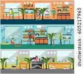 vector set of pet shop concept... | Shutterstock .eps vector #605217965