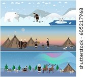 vector set of wild north arctic ... | Shutterstock .eps vector #605217968