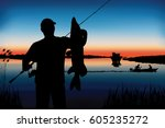 silhouette of fisherman with... | Shutterstock .eps vector #605235272