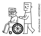 old man and wheelchair. vector... | Shutterstock .eps vector #605238062