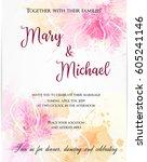 wedding invitation template... | Shutterstock .eps vector #605241146
