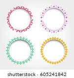 set of round decorative frames. | Shutterstock .eps vector #605241842