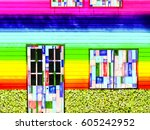wood door window vintage... | Shutterstock . vector #605242952
