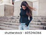fashion model wearing blank... | Shutterstock . vector #605246366